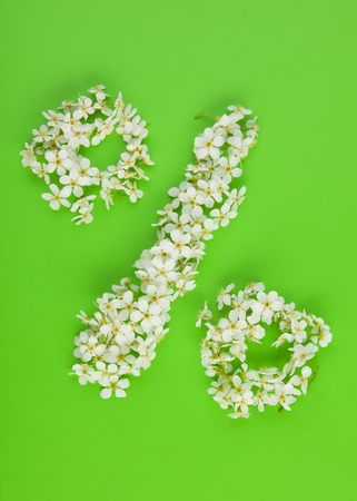 profit and loss: Percentage sign made of white spring cherry tree flowers on green background Stock Photo