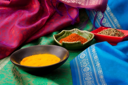 Indian spices with in the plates on the Indian traditional fabric Stock Photo - 13949233