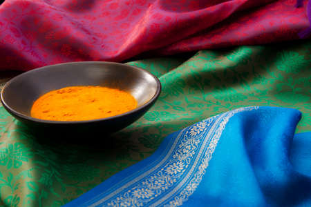Close-up of Indian spices with in the plates on the Indian traditional fabric Stock Photo - 13949111