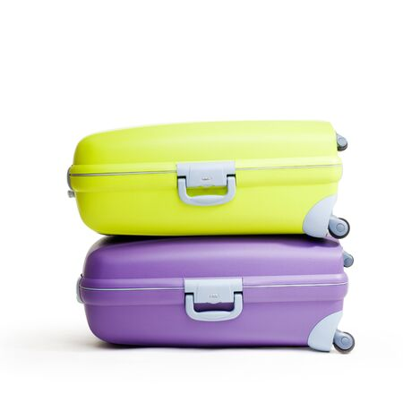 two object: Stack of briefcases on white background, isolated