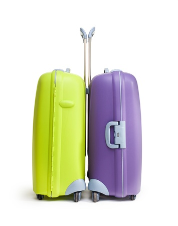 packing suitcase: Two big hard suitcases isolated on white background