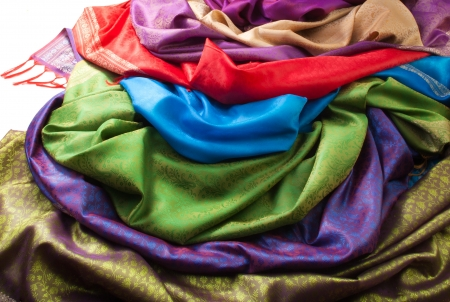 lining: Pile of beautiful fabrics of different color and texture