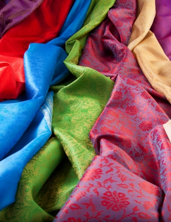 lining fabric: Silk fabric close-up of beautiful texture and vivid colours Stock Photo