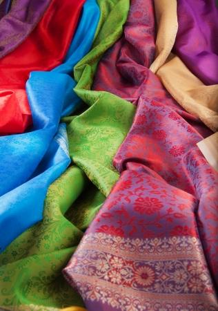 silk fabric: Silk fabric close-up of beautiful texture and multi-colors Stock Photo