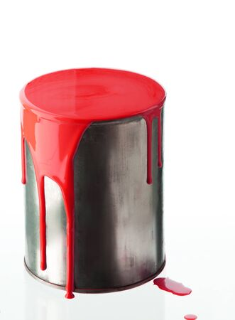 paintbucket: Can with red paint isolated on white