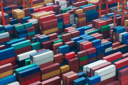 intermodal: Lots of cargo freight containers in the Hong Kong sea port. Stock Photo