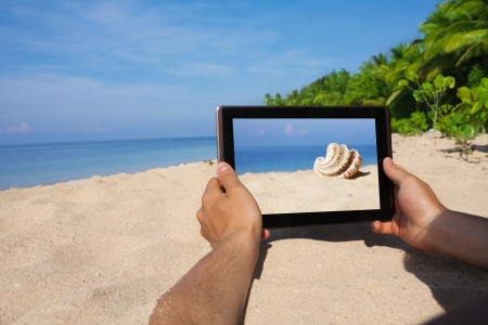 hands holding tablet and taking photo of conch photo