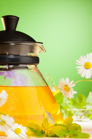 hot herbal chamomile tea on the mint background Stock Photo - 15672877