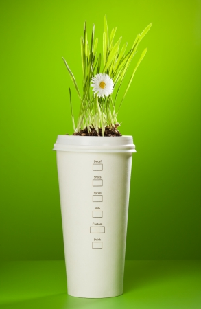 coffee mug with grass and chamomile growing in it photo