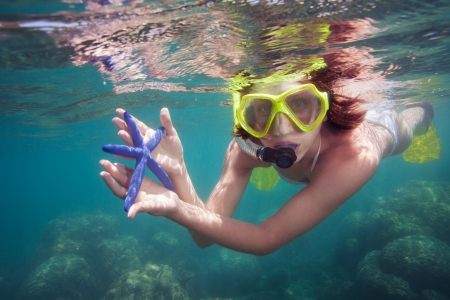 Snorkeler holding blue starfish and looking into camera