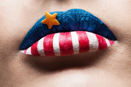 macro 4th july lips with american flag makeup on it photo
