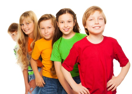 five years old: 5 smiling happy kids in vivid shirts and with big smile isolated on white