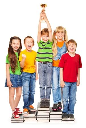 Jongens en meisjes schreeuwen en juichen die hun superbowl Stockfoto - 16708300