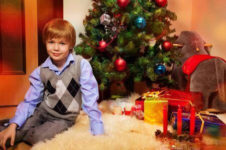 boy ball: Christmas portrait of lovely 8 years boy