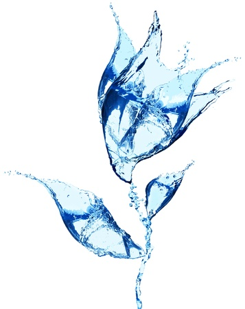 water quality: Flower made of water splashes on white background Stock Photo