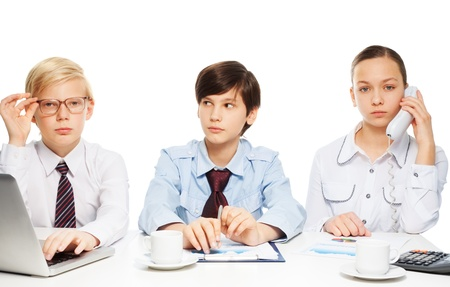 Three kids pretending to be adults wearing formal shirts with ties and doing white-collar job Stock Photo - 17420746