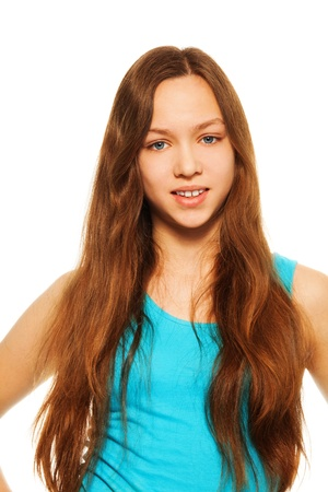 Happy beautiful teen girl with long hair Stock Photo - 17421126