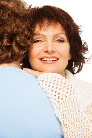 happy older couple: Portrait of happy senior woman laying on husbands shoulder and smilng Stock Photo
