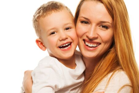 five years old: Happy mother and son smiling and laughing together Stock Photo