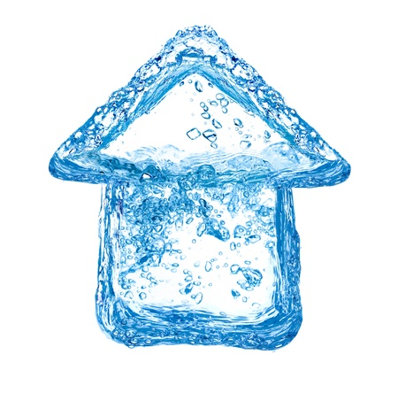 House symbol made of clean water splashes photo