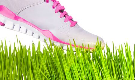Sneaker stepping on grass - fragility concept photo