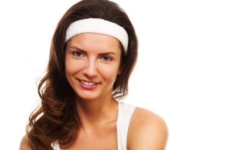 hair band: Sports beauty - close-up of a woman after workout wearing hair band