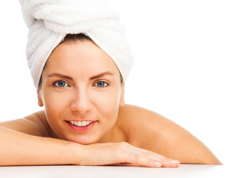 bathroom women: Beauty portrait of a happy woman, wearing turban made of towel, relaxed, isolated on white, Stock Photo