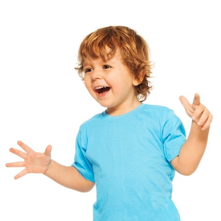 two year: Happy exited two years old kid with open mouse and open hands Stock Photo