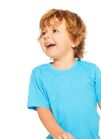 two years: Happy two years old boy laughing standing isolated on white