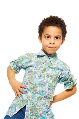 five years old: Portrait of cute black boy, waist up portrait, isolated on whtie Stock Photo