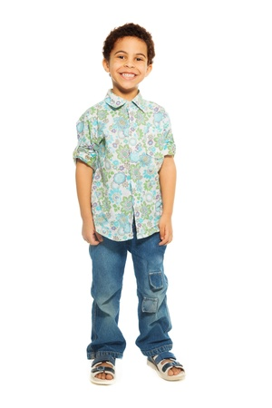 five years old: Super cute happy 5 years old black boy isolated on white, full height portrait Stock Photo