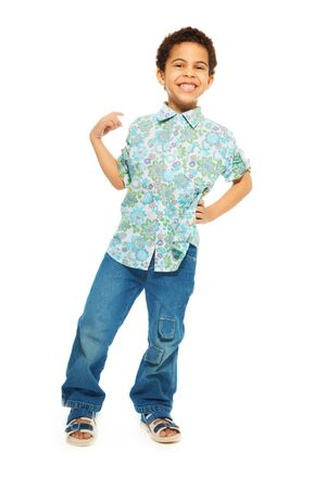 gesticulating: Super cute happy 5 years old black boy gesticulating isolated on white, full height portrait