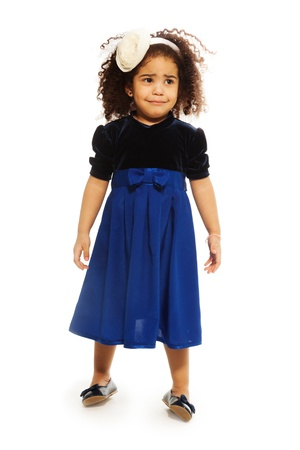 two years: Sad cute black two years old girl with curly hair, isolated on white