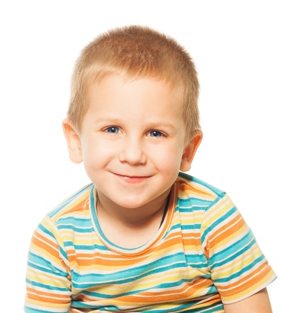 blond boy: Happy portrait of toddler young boy 4 years old, isolated on white and smiling Stock Photo