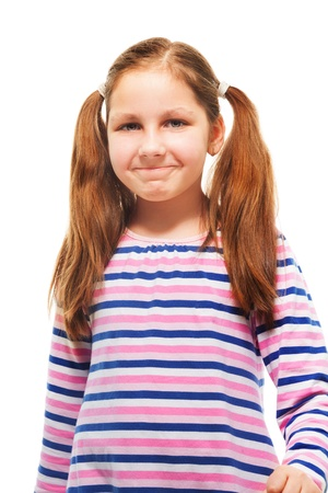 11 years: 11 years old laughing with expression on her face girl with ponytails, isolated on white