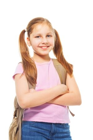ponytails: Happy smiling 9 years old girl with ponytails, wearing backpack, isolated on white