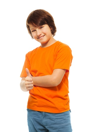 11 years: Cute 11 years old boy with thumbs up and smile, isolated on white