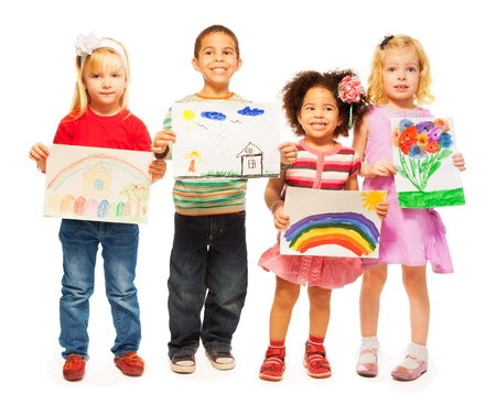 Three happy girls and boys Caucasian and dark skinned holding pictures they draw photo