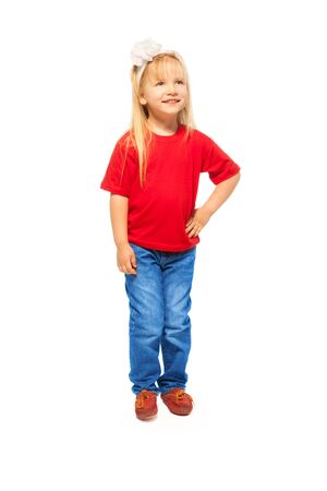 5 years: Portrait of cute 5 years old blond girl with long hairs - full height portrait, isolated on white