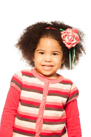 frizzy hair: Portrait of little girl with dark skin and frizzy hair