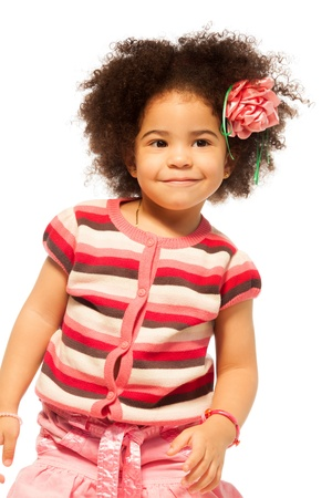 Super nice little black girl with curly hair portrait photo