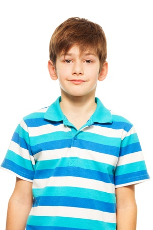 Portrait of cute Caucasian boy smiling and looking front photo