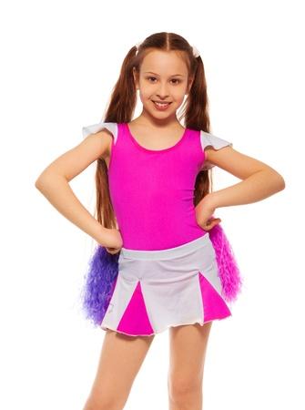 cheerleading: Beautiful cheerleader girl with long dark hair on white Stock Photo