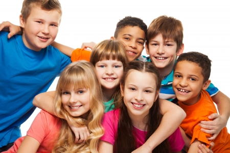 black teens: Group of happy diversity kids smiling  and laughing Caucasian and black kids Stock Photo