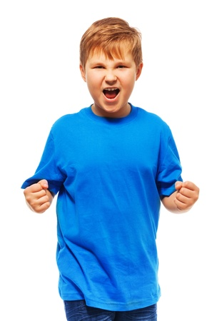 Angry fat boy with screaming expression holding fists standing isolated on white