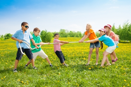 Group of kids playing pulling the rope in the dandelion field Stock Photo