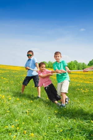 pulling rope: Group of goys playing pulling the rope in the dandelion field Stock Photo