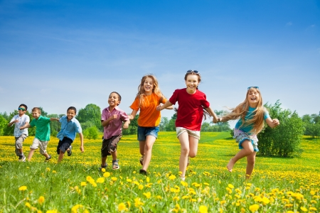 Gruppo di sette felice in esecuzione nel parco i bambini, ragazzi e ragazze, neri e caucasici Archivio Fotografico - 20981372