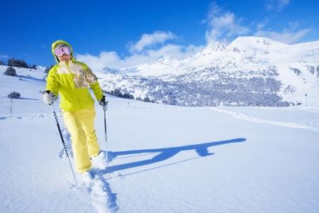 ski walking: One man walking with ski over the snow virgin land