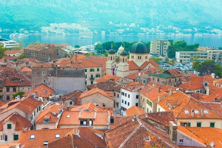 panoramic roof: Old town of Kotor, Montenegro view from the walls on the roofs and bay